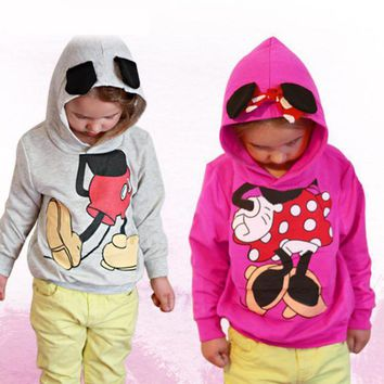 2017 Girls Outwear Spring Autumn Children's Clothing Fleece Suits Mickey & Minnie Kids Hoodies Children Sports Boys Clothes JM05