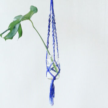 Shabby Chic Hanging Planter- Wall Accent- Bohemian Decor- Dorm Decor~ Planter~ Modern Macrame- Batik Wall Accent- Boho Home Decor-  BohoChic