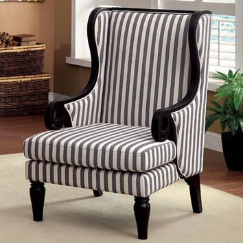 Riviera Transitional Wing Accent Chair With Line Fabric, Black Leg Finish