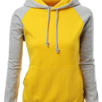 Autumn Winter Womens Girl Yellow Patchwork Sweater Casual Sports Hoodie Top Gift 141