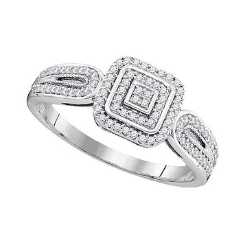 10kt White Gold Womens Round Diamond Square Cluster Bridal Wedding Engagement Ring 1-5 Cttw