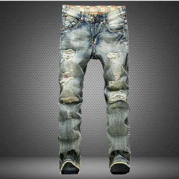 Men Ripped Holes Jeans [6528346371]