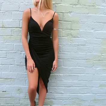 Exotic Isles Black Fitted Deep V Uneven Hem Cocktail Dress