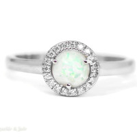 Sterling Silver Round Created White Opal CZ Halo Ring