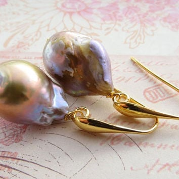 Baroque pearl mauve earrings, sterling silver 925 gold plated 18 K jewelry,  uk gemstone jewellery, jewels Made in Italy