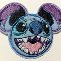 Disney Stitch Inspired Mouse Ear Patch - Embroidered Applique Inspired by Lilo and Stitch