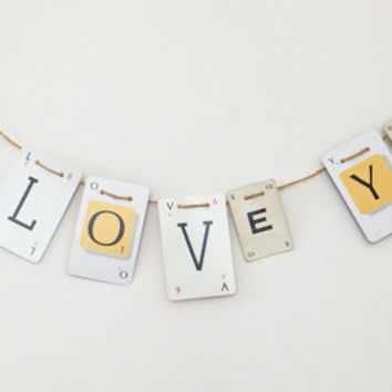 I LOVE YOU Bunting, Love Garland, recycled banner, romantic banner, up-cycled bunting