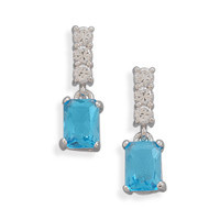 Clear Cubic Zirconia and Blue Cubic Zirconia Dangle Post Earrings