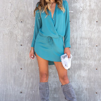 Boulevard Chiffon Long Sleeve Wrap Dress - Teal