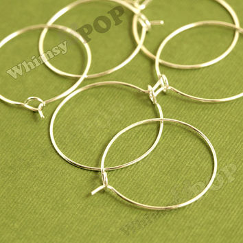 100 - Gold Plated Wine Glass Charm Rings / Earring Hoops Blanks and Findings, Charm Blanks,  25mm