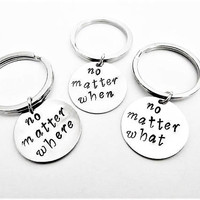 3 best friends keychains, no matter where what when key chains, Hand Stamped Jewelry Long Distance three bff sisters gift idea bridesmaids
