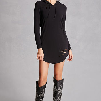 Distressed Hooded Dress