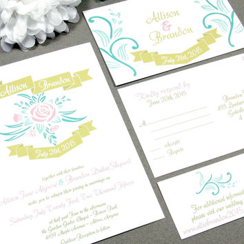 Rose Banner Rustic Wedding Invitation Set by RunkPock Designs / Modern Garden Script Calligraphy Suite shown in Blush Pink , Mint and Gold