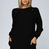 Button Sweater Dress - Black