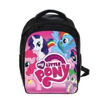 2016 New Arrival cartoon Printing Backpack Girls Cartoon My Little Pony School Bag Kids Lovely Minions Schoolbag  Free Shipping