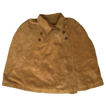 Girls Light Brown Suede Poncho