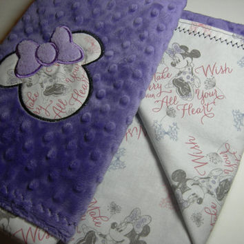 Purple Minnie Mouse Standard Blanket with Applique