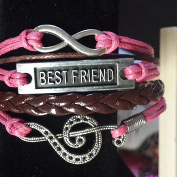 Pink & Maroon/Infinity/Best Friend/Treble Clef Bracelet