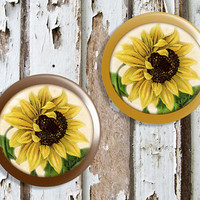 Handmade Sunflower Flowers Knob Drawer Pulls, Birch Wood, Yellow Floral Cabinet Pull Handles, Dresser Knobs, We Make Customized Orders
