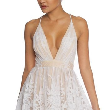 Party Doll Lace Sleeveless Spaghetti Strap Plunge V Neck Backless Flare A Line Mini Dress - 4 Colors Available