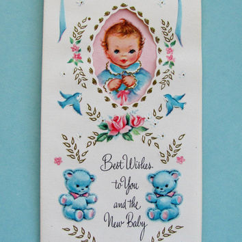 Vintage New Baby Greeting Card Clean Unused With Original Envelope Royal Deluxe Coronation Collection Brown Haired Baby In Blue