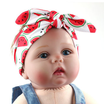 1PC Baby Girl Toddler Newborn Fruit Print Headband Hairband Headwrap Hair Bow Knot Tiara Hair Band Accessories