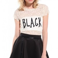 Final Sale - Black Sheer Lace Tee • Hipster.Co