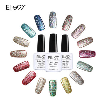 Elite99 Super Bling Gel Nail Polish Pure Soak Off UV LED Starry Gel Polish UV LED Glitter Sequins Nail Gel for Nail Art 10ml