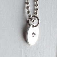 Small Initial Necklace, Sterling Silver Jewelry, All Letters, Initial Charm, Initial Pendant, Charm Necklace, Letter v, Hand Stamped,