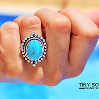 Big Bold Statement Ring - Stone Ring - Turquoise Ring - Cocktail Ring - Big Ring - Oversized Ring - native Ring - Turquoise jewelry