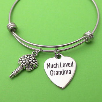 Much Loved Grandma, Bouquet, Silver, Keychain, Bangle, Necklace, Grandmother, Christmas, Gift