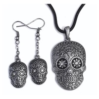 Skull Day of Dead Flower Eyes Costume Dangle Earrings and Pendant Necklace
