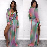 Women Fashion Multicolor Print Deep V Bandage Split Long Sleeve Chiffon Maxi Dress Bikini Smock