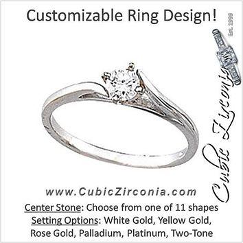 Cubic Zirconia Engagement Ring- The Dell (Customizable Cathedral Bypass  Solitaire) 606c552bca