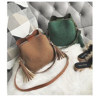 Fashion Vintage Bucket Bag, Tassel Crossbody Purse