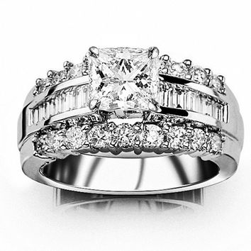 GIA CERTIFIED | 2.1 CTW Channel Set Baguette and Round Diamond Engagement Ring w/ 1 Ct Princess Cut G Color VS2 Clarity Center (Platinum, White)