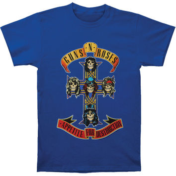 Guns N Roses Men's  Cross On Royal T-shirt Royal Rockabilia