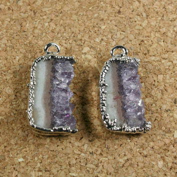 Amethyst Slice Matched Earring Pair - Purple Tan and Teal Silver Electroplated - 1 Pair