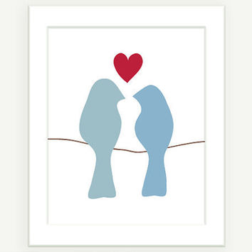 Love Birds On A Wire Modern Art Grey Blue w Red 8x10 by colorbee