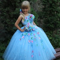 Children Girls Birthday Party Holiday Pageant Flower SkyBlue White Dress