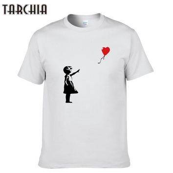 TARCHIA New Arrived t-shirt cotton tops tees kcco balloon girl banksy men short sleeve boy casual homme t shirt tee plus fashion