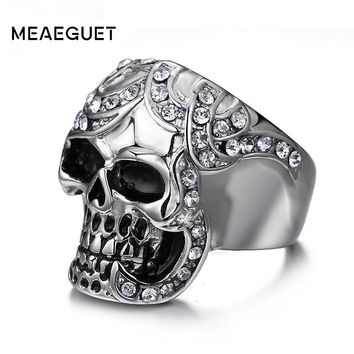 Vintage Cubic Zirconia Skull Rings Europe Silver-Color Stainless Steel