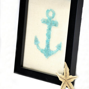 Sea Glass Anchor Art, Sea Glass Art, Teal Anchor Art, Teal Glass Anchor, Framed Anchor Glass Art, Beach Glass Art, Glass Mosaic Anchor
