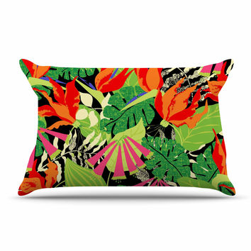 "Jacqueline Milton ""Tropicana - Hot"" Orange Green Pillow Sham"