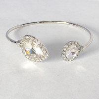 Western Crystal Bangle - Silver