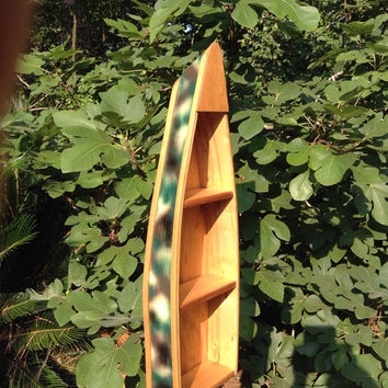 "Handmade 32"" Wooden Camo Boat Shelf"
