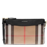 ONETOW Burberry Women's House Check and Clutch Bag Black