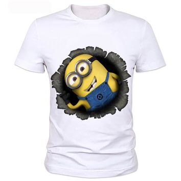 2018 men's fashion funny design simple one eye minion printed t-shirt Direct manufacturers, can be customized 110#