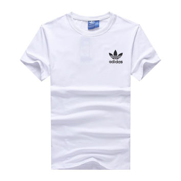 """Adidas"" Men Simple Casual Clover Letter Print Round Neck Short Sleeve Cotton T-shirt"