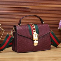 GUCCI New fashion more letter stripe leather women crossbody shoulder bag Red
